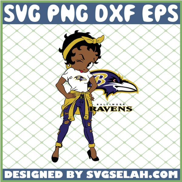 Betty Boop Baltimore Ravens NFL Logo Teams Football SVG PNG DXF EPS 1
