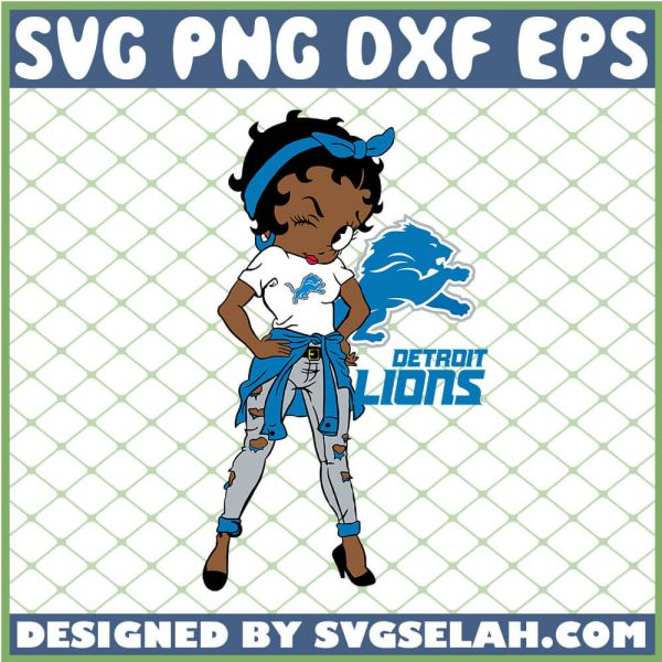 Betty Boop Detroit Lions NFL Logo Teams Football SVG PNG DXF EPS 1