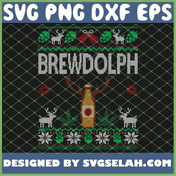 Brewdolph Beer and Weed Cannabis Marijuana Ugly Christmas SVG PNG DXF EPS 1