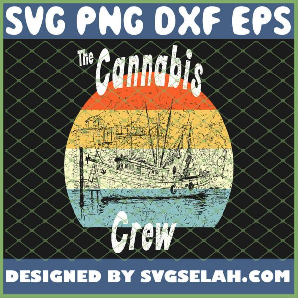Cannabis Crew Vintage Marijuana Retro Weed Gift SVG PNG DXF EPS 1