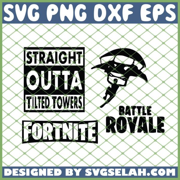 Fortnite Parachute Straight Outta Tilted Towers Battle Royale SVG PNG DXF EPS 1
