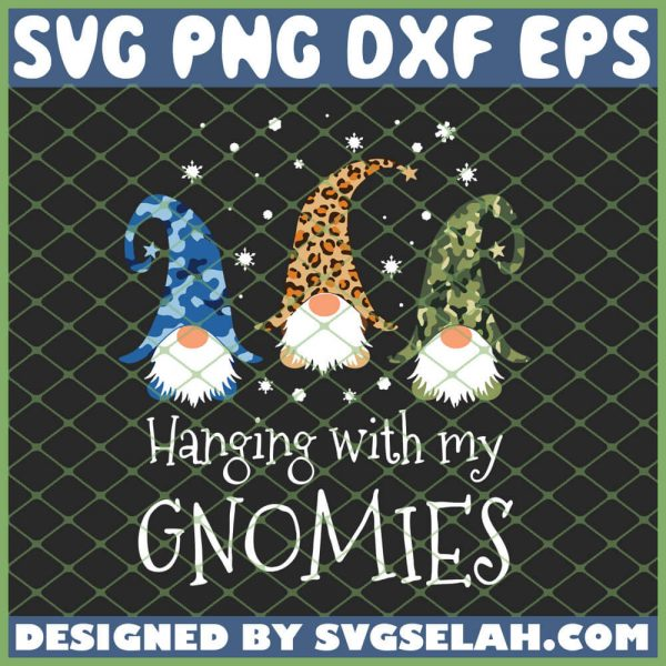 Hanging With My Gnomies Camo Leopard Print Christmas SVG PNG DXF EPS 1