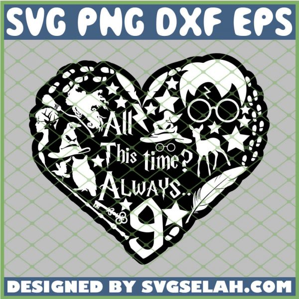 Harry Potter Heart Silhouette All This Time Always 9 3 4 SVG PNG DXF EPS 1