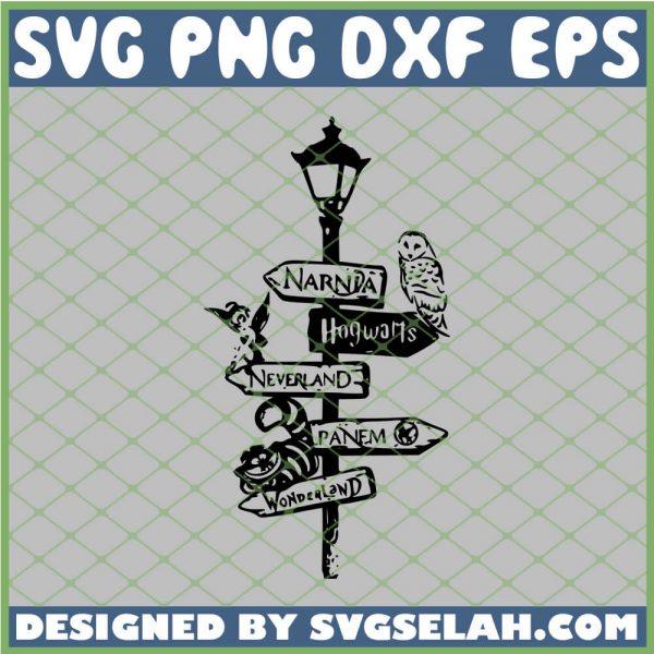 Harry Potter Narnia Hogwarts Neverland Panem Wonderland Lamp Post Owl Cat SVG PNG DXF EPS 1