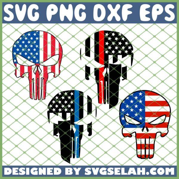Punisher Skull American Flag SVG PNG DXF EPS 1
