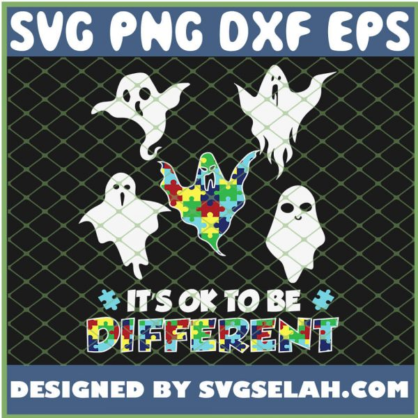 Autism Boo Ghost Ghoul Its Ok To Be Different SVG PNG DXF EPS 1