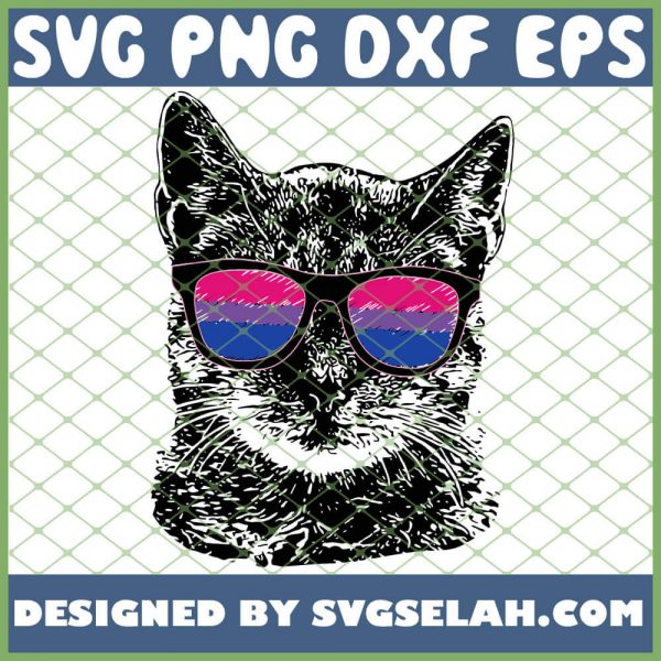Bisexual Gay Pride Cat Lgbt Sunglasses SVG PNG DXF EPS 1