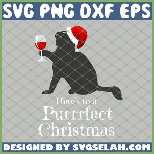 Black Cats Drink Wine Here To A Purrrfect Christmas SVG PNG DXF EPS 1