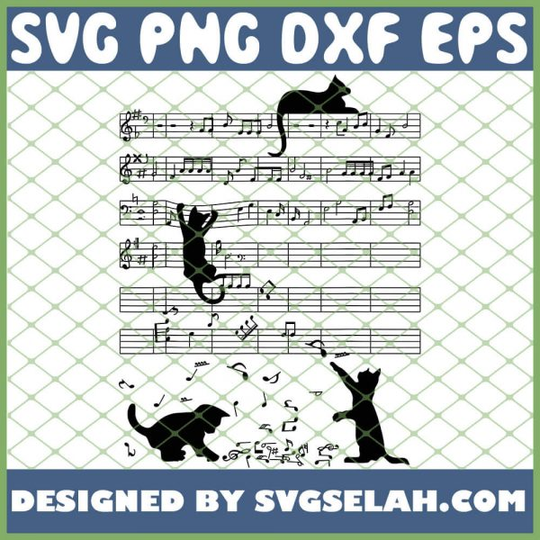 Cute Black Cat Playing Music Note Clef Musician Art SVG PNG DXF EPS 1