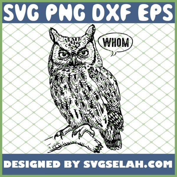 Funny English Teacher Grammar Who Whom Owl Cute Bird SVG PNG DXF EPS 1