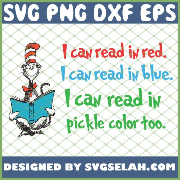 I Can Read In Red Blue And Pickle Color SVG PNG DXF EPS 1