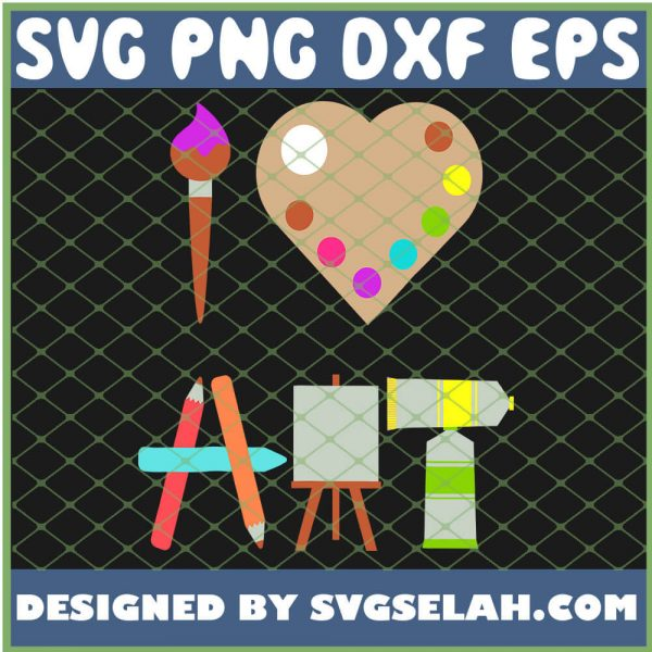 I Love Art Fun Colorful Future Artist And Crafts SVG PNG DXF EPS 1