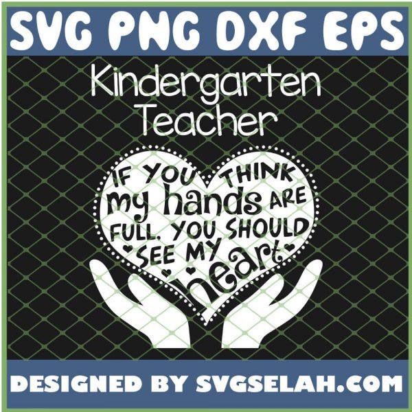 Kindergarten Teacher T Heart Hands School Team Gift SVG PNG DXF EPS 1