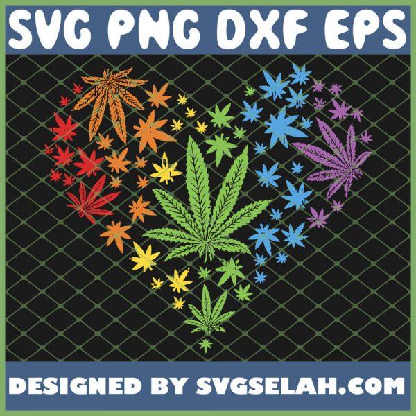 Marijuana Heart Lgbt Weed Leaf Gay Pride Stoner SVG PNG DXF EPS 1