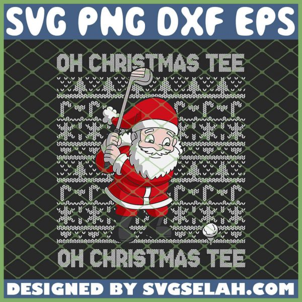 Oh Christmas Tee Santa Claus Golfer SVG PNG DXF EPS 1