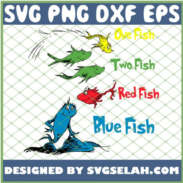One Two Red Blue Fish SVG PNG DXF EPS 1