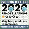 Remote Learning 2020 Verry Bad Would Not Recommend Virtual Teacher SVG PNG DXF EPS 1