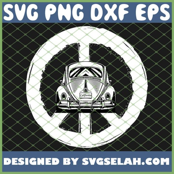 Retro Peace Car Beetle Buggy Bug Auto California Love Lgbt SVG PNG DXF EPS 1