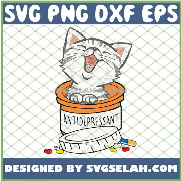 Antidepressant Cat Funny SVG PNG DXF EPS 1