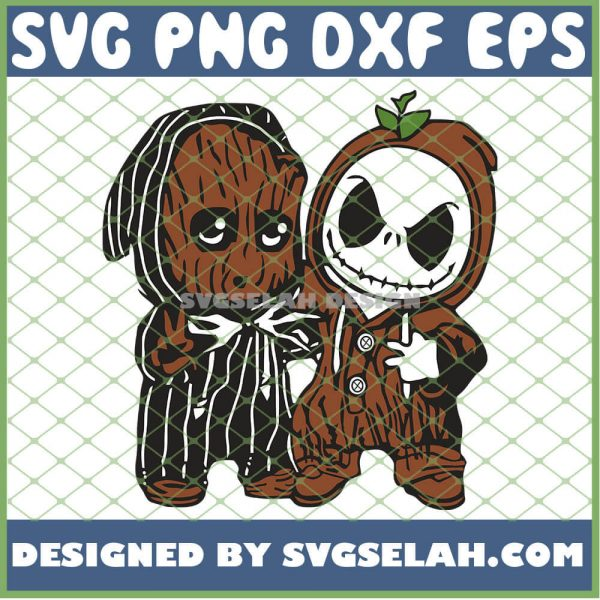 Baby Groot And Jack Skellington Costume SVG PNG DXF EPS 1