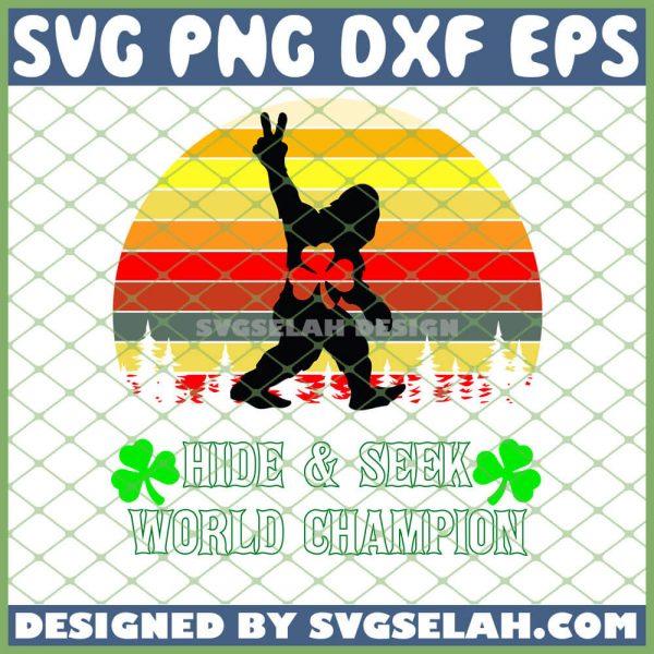 Bigfoot St Patricks Day Hide Seek World Champion Vintage SVG PNG DXF EPS 1