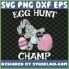Cute Easter Bunny Dancing With Egg Hunt Champ SVG PNG DXF EPS 1