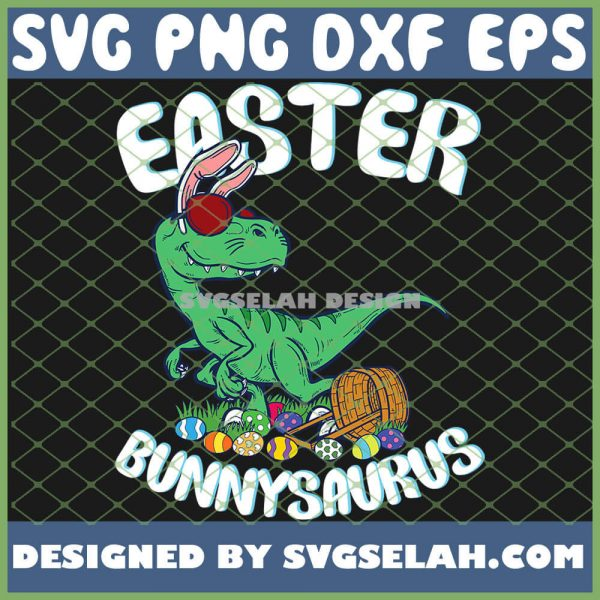 Easter Bunnysaurus With Eggs SVG PNG DXF EPS 1