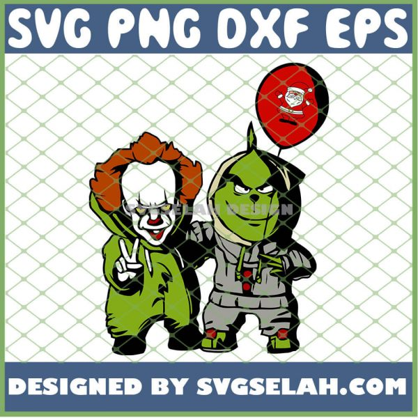 Pennywise And Grinch Holding Santa Balloon Christmas Costume SVG PNG DXF EPS 1