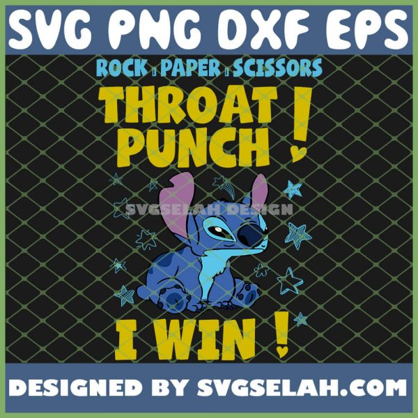 Stitch Rock Paper Scissors Throat Punch I Win SVG PNG DXF EPS 1