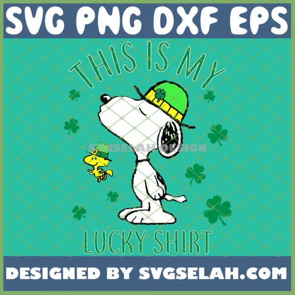 Snoopy Dog With Woodstock Saint Patricks This Is My Lucky Shirt SVG PNG DXF EPS 1