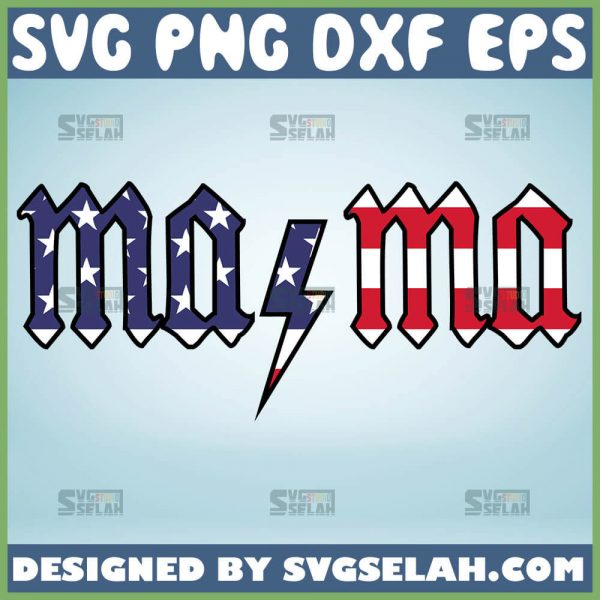 Acdc Mama Svg Acdc American Flag Svg 1