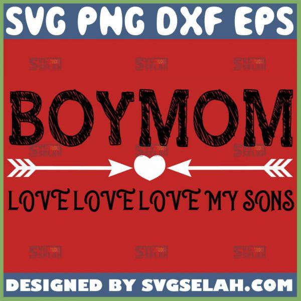 Boy Mom Love Love Love My Sons Svg 1