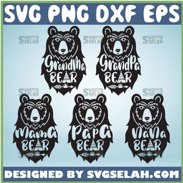 Grandma Bear Svg Grandpa Bear Svg Papa Bear Svg Mama Bear Svg Nana Bear Svg Mama Bear Family Svg Teepee Svg 1