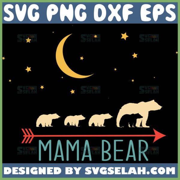 Mama Bear And Cubs Svg Mom And Baby Bear Below The Night Sky Svg 1