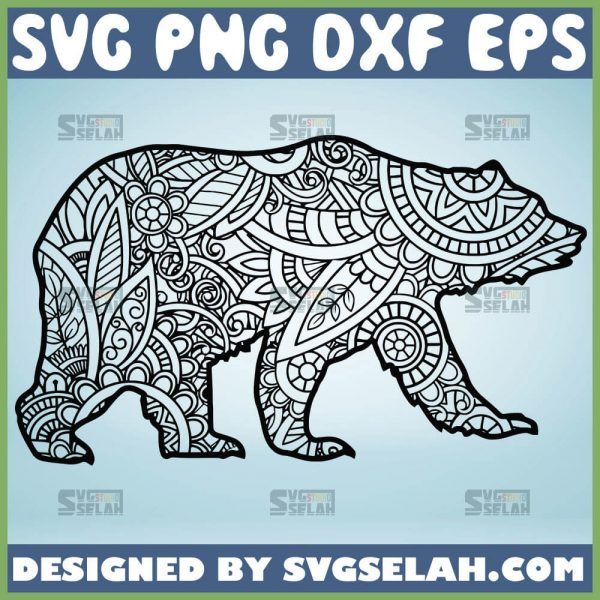 Mama Bear Mandala Svg Zentangle Bear Svg 1