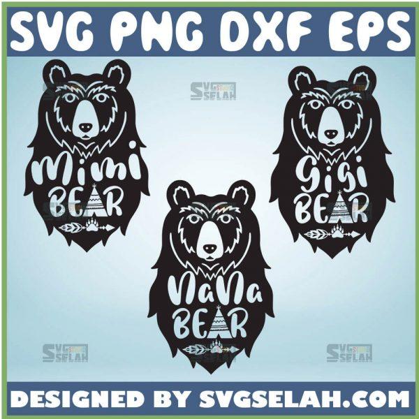 Mimi Bear Svg Gigi Bear Svg Nana Bear Svg Tribal Bear Svg Teepee Svg 1