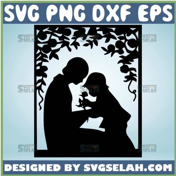 Mother And Baby Silhouette Svg Mother And Daughter Svg 1