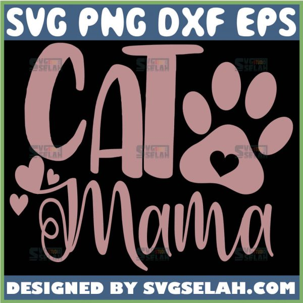 Pink Cat Mama Svg Cat Paw Print Svg 1