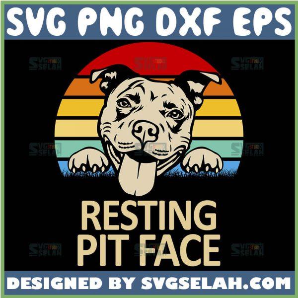 Resting Pit Face Svg Vintage Pitbull Mom Svg American Bulldog Svg 1