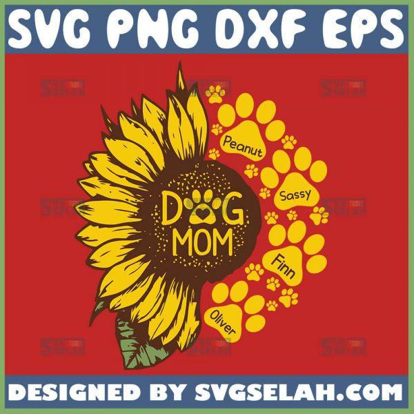 Sunflower Dog Mom Svg Sunflower Paw Print Svg Half Sunflower Svg 1
