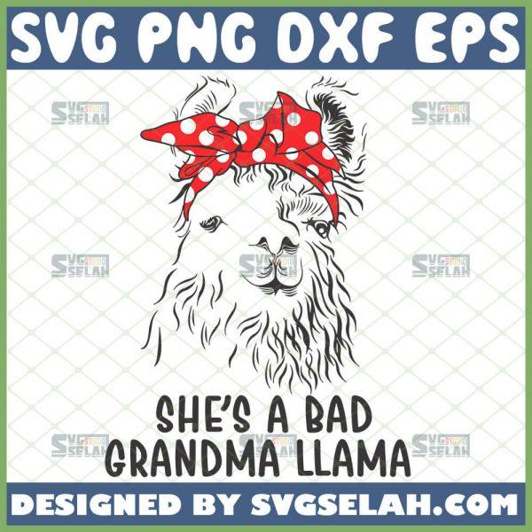 SheS A Bad Grandma Llama Svg Funny Llama Animal Svg Polka Dot Llama Face Svg Guanaco Svg 1