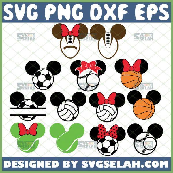 Mickey Minnie Mouse Sport Svg Football Soccer Baseball Tennis Basketball Volleyball Disney Svg Bundle 1