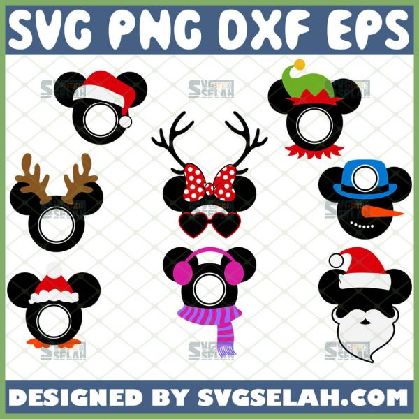 Mickey Mouse Monogram Svg Files For Disney Character Christmas Ornaments 1