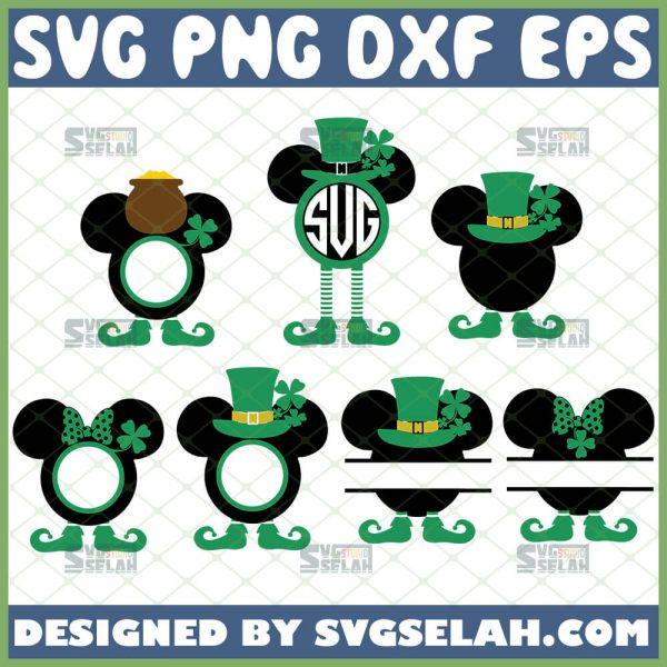 Mickey Mouse St Patricks Day Split Monogram Svg Bundle 1