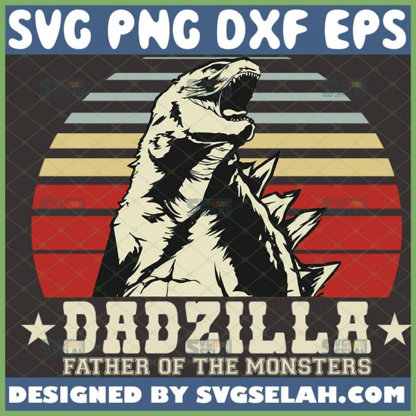 dadzilla father of the monsters svg vintage godzilla fathers day silhouette cameo design ideas 1