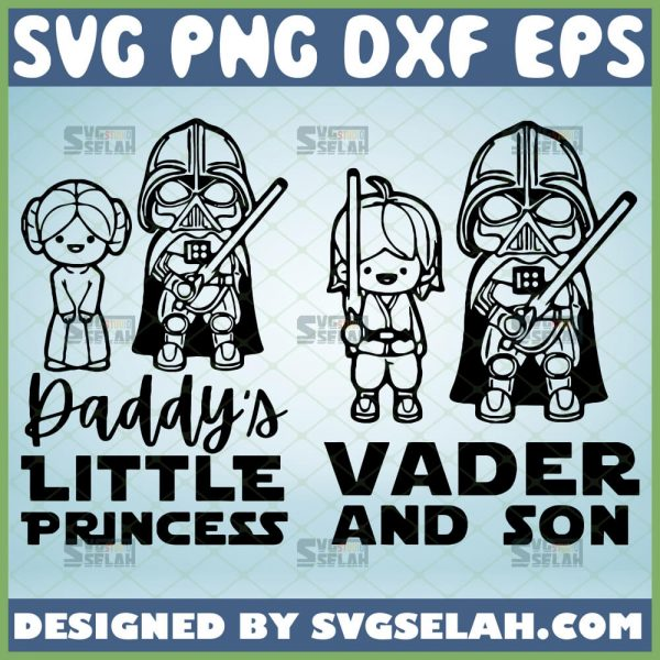 darth vader and son daddys little princess star wars svg couple maching diy shirts for son and daughter 1