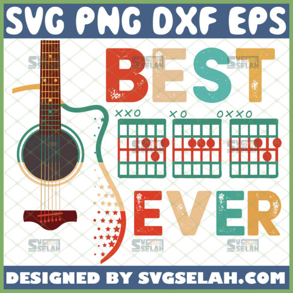 best dad ever acoustic guitar svg diy gifts for music lovers fathers day svg