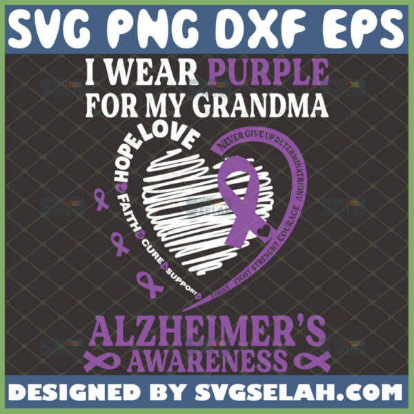 i wear purple for my grandma alzheimers awareness svg heart svg ribbon svg dementia care gifts