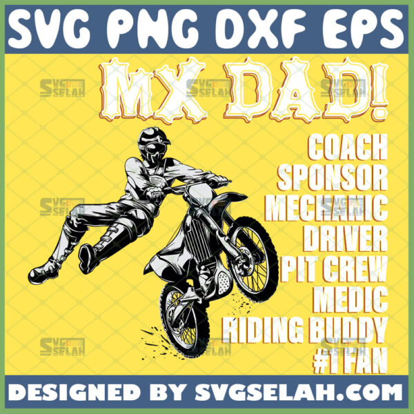 mx dad svg coach sponsor mechanic driver pit crew medic riding buddy 1 fan motocross dirt bike fathers day gifts