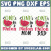 one in a melon svg bundle mom dad watermelon svg birthday party gift ideas family fruit matching shirt svg